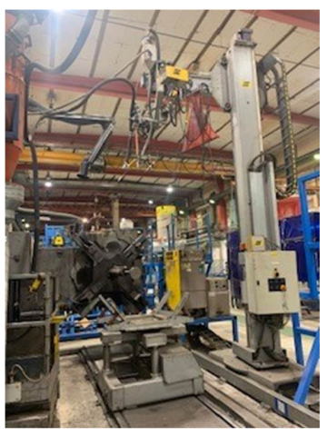 Automatic welding station with positioner and circular crane melt